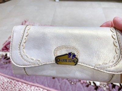 Anna Sui 紫銀白色 長夾 皮夾 珠光色