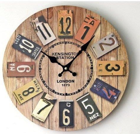 星雜貨設計 zakka Vintage歐式鄉村風 美式酒吧日曆數字 工業LOFT 英倫LONDON質感掛鐘 時鐘 圓鐘