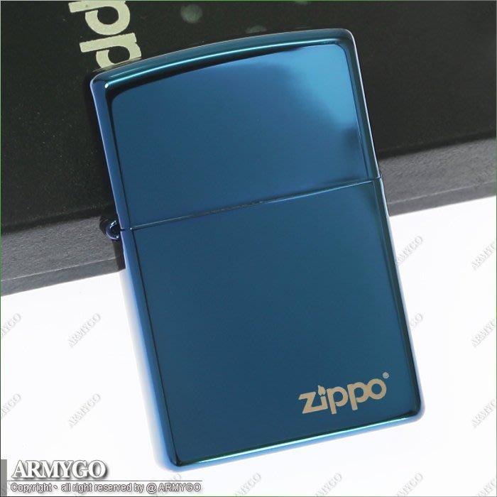 【ARMYGO】ZIPPO原廠打火機-藍色鏡面-No.20446ZL
