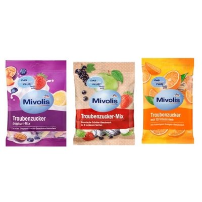 德國Dm Mivolis 葡萄糖製糖果 橘子/綜合水果優格/混合水果口味 100g