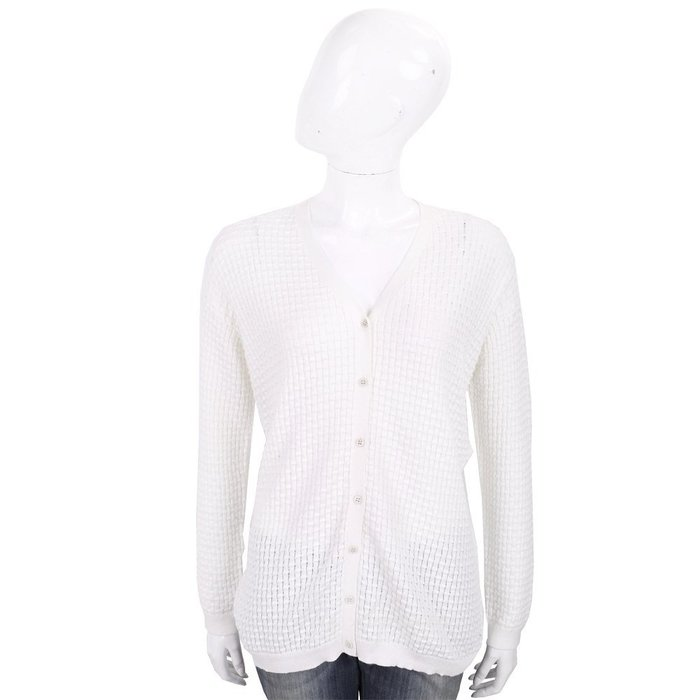 米蘭廣場 ALLUDE 白色竹節編織長袖針織小外套 1740239-20