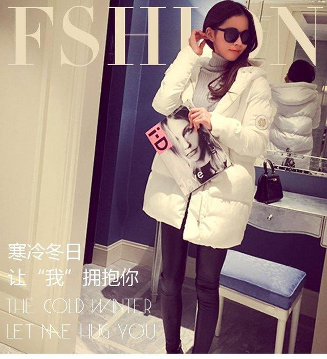 東大門平價鋪  新款女士中長款連帽羽絨棉外套,韓國寬鬆大碼加厚學院風棉服