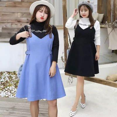 ✿plump girl 甜美✿中大尺碼女裝孕婦裝洋氣背心裙氣質打底衫兩件套1493