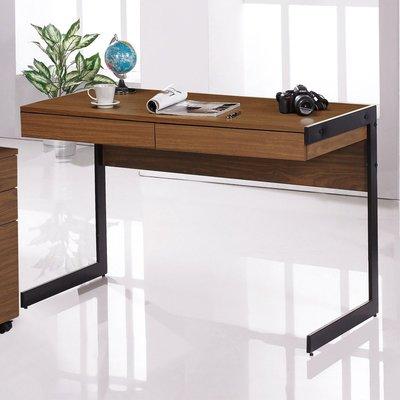 【人家人具】4尺胡桃色二抽書桌歐菲ZF383-1
