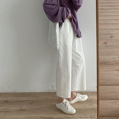 ☆Bubble Lady ☆ 【B2528】休閒 百搭 鬆緊腰 棉質 九分寬褲