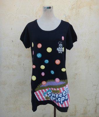 jacob00765100 ~ 正品 日本品牌 rough 黑色 棉質 童趣休閒洋裝 Size: F
