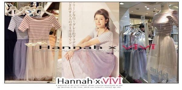 HannahxVIVI 全新 SNIDEL 最新春夏夢幻百搭復古甜美一字領性感露肩條紋網紗拼接連身裙洋裝