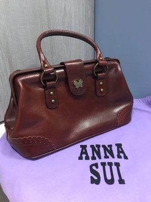 Anna Sui 安娜蘇 經典醫生包 大款 咖啡色 牛皮