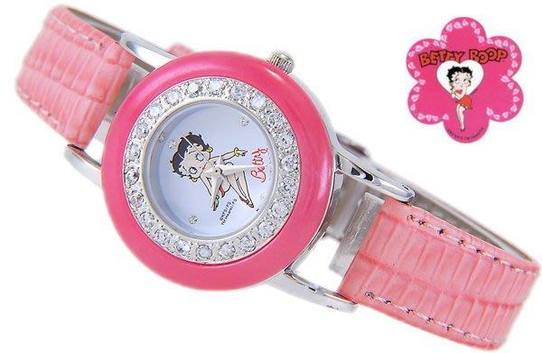 @(六四三精品)@BETTY BOOP(真品)波麗錶框.貝蒂錶面.水鑽外框.粉紅錶帶!!
