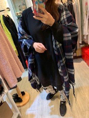 正韓商品 藍色格紋流蘇披肩 圍巾毛料格紋圍巾 毛呢格紋披肩 超級暖