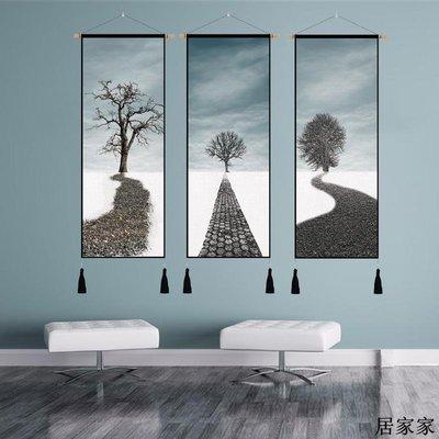 掛布 背景裝飾 掛毯 掛畫布藝 簡約現代三聯組合掛畫電表箱遮擋布客廳沙發背景墻掛畫玄關墻掛毯