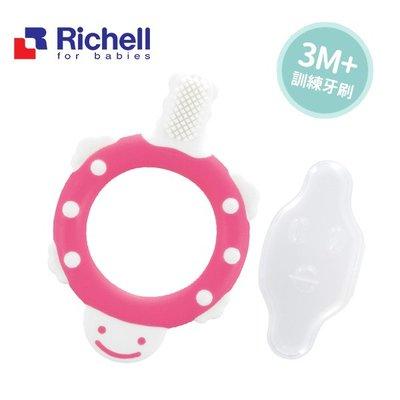 【媽媽倉庫】日本Richell利其爾乳牙訓練牙刷3M+ 附收納盒 乳牙刷 乳牙牙刷