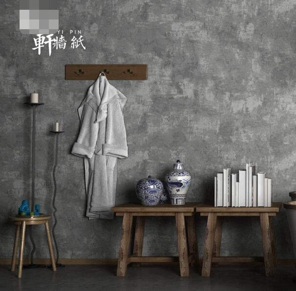 壁貼 壁紙 複古懷舊工業風水泥灰色牆紙素色純色客廳咖啡廳服裝店背景牆壁紙 寬53cm高950cm—莎芭
