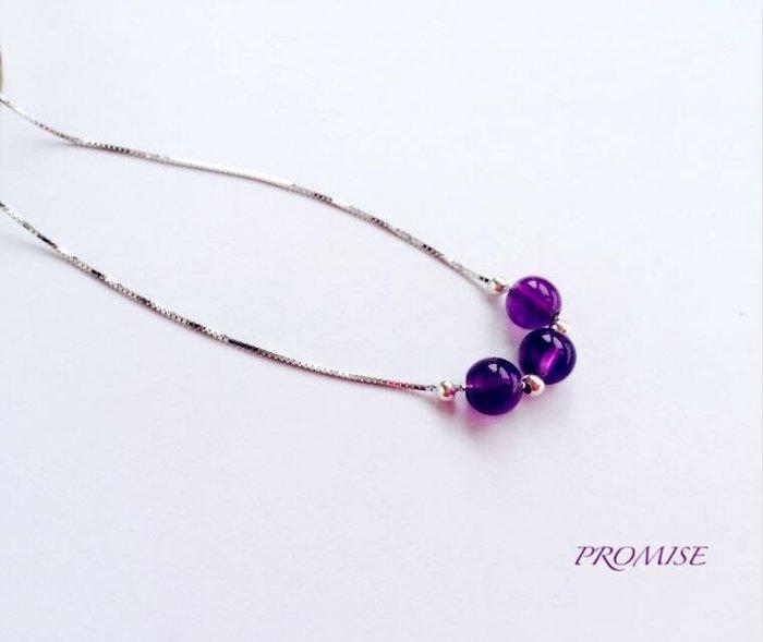 秀氣百搭款-幸運水晶925純銀項鍊 原創設計 手作飾品 禮物 情人 紫水晶 現貨
