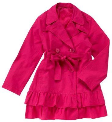 22@☆蠍蠍傳說☆Crazy 8 Ruffle Hem Trench Coat桃紅色蛋糕裙擺風衣(XL / 10-12T