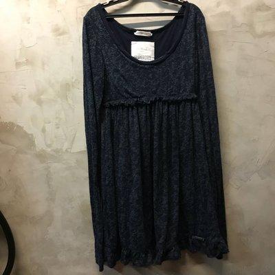 Superdry 深藍色迷彩長袖洋裝 袖子半透明 針織彈性大 Vintage thrift 肩寬38 胸寬42 長88