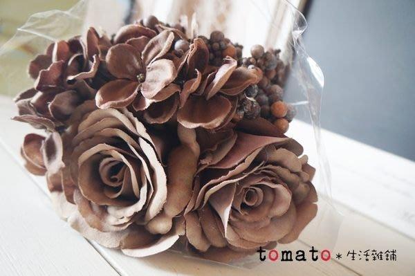 ˙TOMATO生活雜鋪˙日本進口雜貨仿真四片葉玫瑰果實漸層色花束婚禮佈置櫥窗擺設