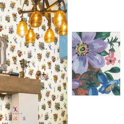【夏法羅 窗藝】日本進口 時尚前衛 繽紛大花 復古鄉村風 壁紙 BB_162360