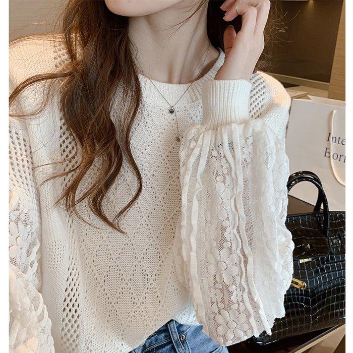 ❤Princess x Shop❤自留款~氣質精美蕾絲花紋拼接針織長袖上衣內搭打底針織衫TO24-80-1韓國同款女裝