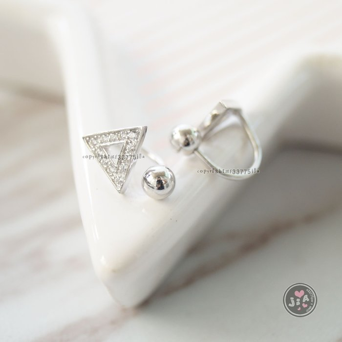 【Jia' s】三角縷空鑽鋯石純銀耳夾耳環S925。正生純銀
