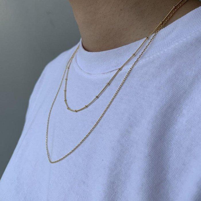 Wanderlust+Co 澳洲品牌 金色素鍊 雙層星辰豆豆款 Beaded Layered Chain