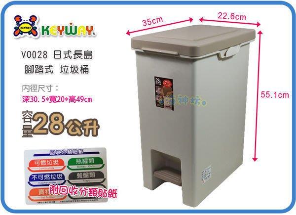 海神坊=台製 KEYWAY VO028 長島踏式垃圾桶 方形紙林 分類桶 掀蓋資源回收桶 附蓋28L 4入1200元免運