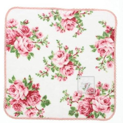 芭比日貨~*日本製 Petit Fete 粉玫瑰 純棉 手帕巾 現貨