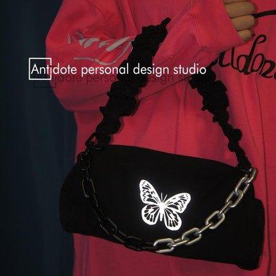 「夏日衣捨」 ANTIDOTE創意3M反光蝴蝶鏈條腋下包小眾黑色街拍包S4D2