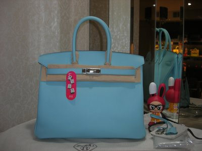 典精品 Hermes  全新 真品 3P  Blue Atoll  藍色 epsom 35cm Birkin T 現貨