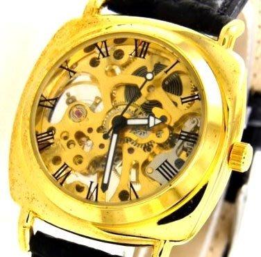(六四三精品)全新復古歐速仕雙面鏤空座墊式手上鍊機械錶.....