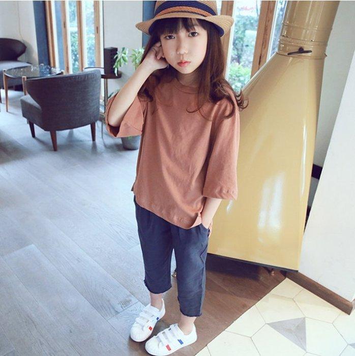 Q嫩童裝 中大女童夏裝七分袖不對稱純色T恤 MUL002