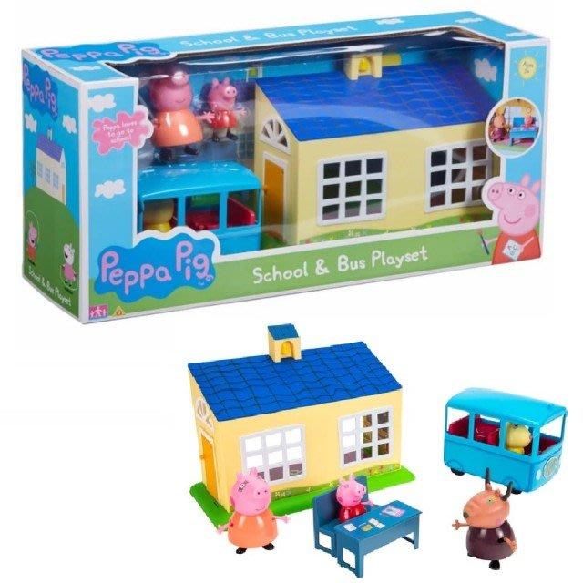 ☆天才老爸☆→《Peppa Pig 粉紅豬小妹》粉紅豬小妹-學校房子+小校車←佩佩豬 禮物 玩具 批發 團購 家家酒