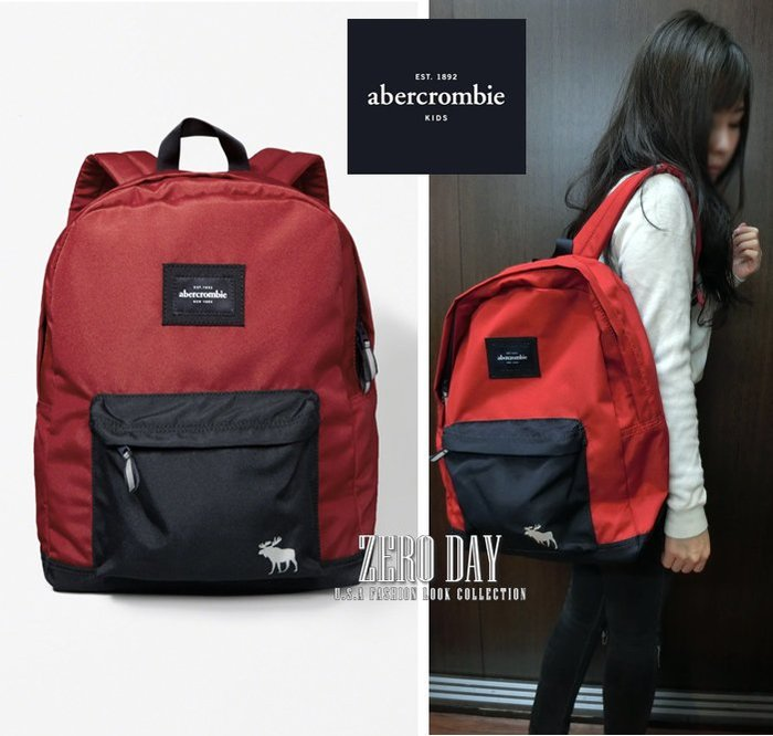 a&f真品abercrombie&fitch standard nylon logo backpack藍紅拼色麋鹿後背包