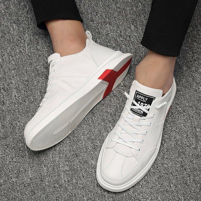 6Du spot~香港夏季新款潮男鞋百搭韓版英倫小白鞋內增高一腳蹬懶人鞋低幫鞋
