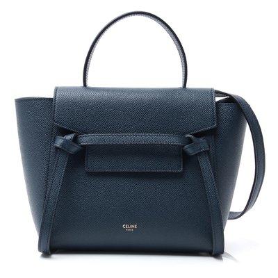 全新正品 CELINE 189003 Nano Belt bag in grained calfskin 深淵藍