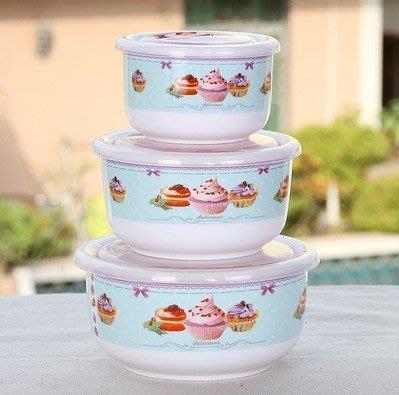 骨瓷陶瓷 保鮮碗 保鮮盒 便當盒 密封碗 野餐碗 野餐神器 (繽紛甜點款 三件組430元 ) 四季田園 0528-243