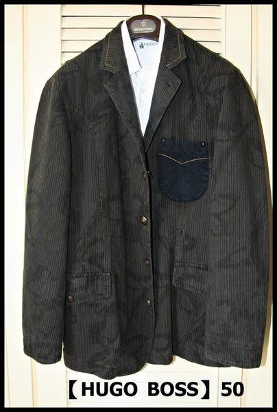 歐碼50【Hugo Boss】橘標系列100%純棉單排特殊銅扣單寧極細條紋軍裝騎士風印花染印外套