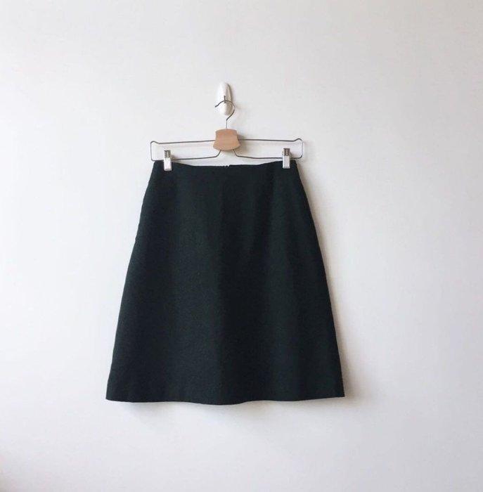 muji 無印良品 深綠色羊毛毛呢裙