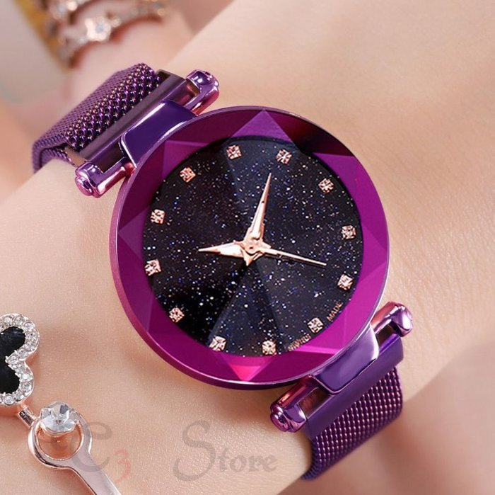 【T3】抖音星空錶 懶人手錶 磁鐵水鑽 生活防水 手錶 情侶錶 交換禮物 生日禮物 禮物 【H96】