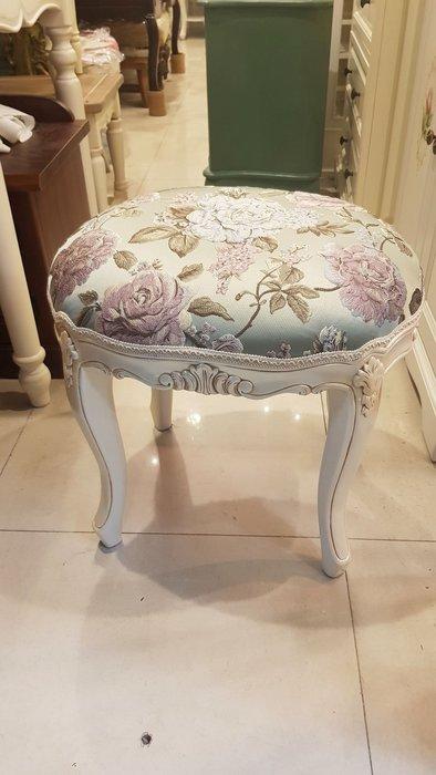 法式雕花橢圓凳 化妝椅