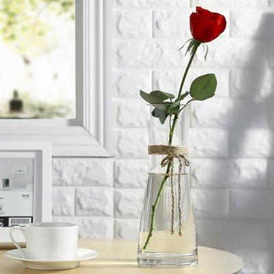 純手工現代簡約 餐桌擺設創意花瓶玻璃透明客廳插花裝飾百合花瓶 WD    全館免運