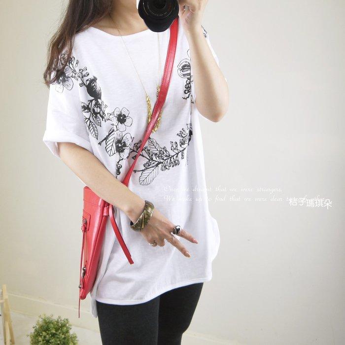 正韓 韓國連線 圓領長版棉T 領口圈花(白、鐵灰) ~桔子瑪琪朵。惠衣