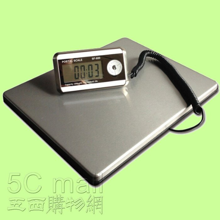 5Cgo【權宇】SF-889超輕200Kg自動節電背光液晶顯示不銹鋼電子秤精準便攜稱 Kg/盎司/磅/電池/變壓器 含稅