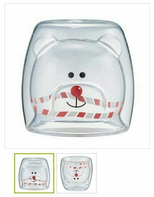 星巴克 聖誕節限定 聖誕男Bearista雙層玻璃杯療癒系熊熊+送星巴克禮物包裝紙及星巴克紙提袋 (斷貨款 )