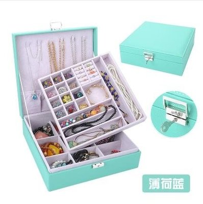 首飾盒雙層絨布歐式木質帶鎖裝飾品收納盒大【牛皮紋雙層】