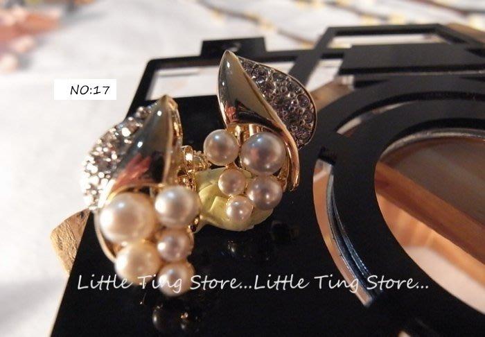 Little Ting Store 德國進口古董珠寶珠光5小珍珠愛心葉金色底金屬耳環夾式螺旋夾耳環貼耳飾