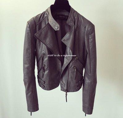 ++1026++韓國2016年新色款 小立領大翻領 寬鬆合身多拉鍊裝飾 水洗類真皮衣  短版機車夾克外套
