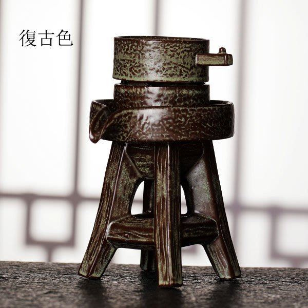 5Cgo【茗道】含稅會員有優惠 556521278336 陶瓷茶漏鬥粗陶石磨茶濾茶壺茶杯泡茶茶海網個性茶葉過濾器複古創意