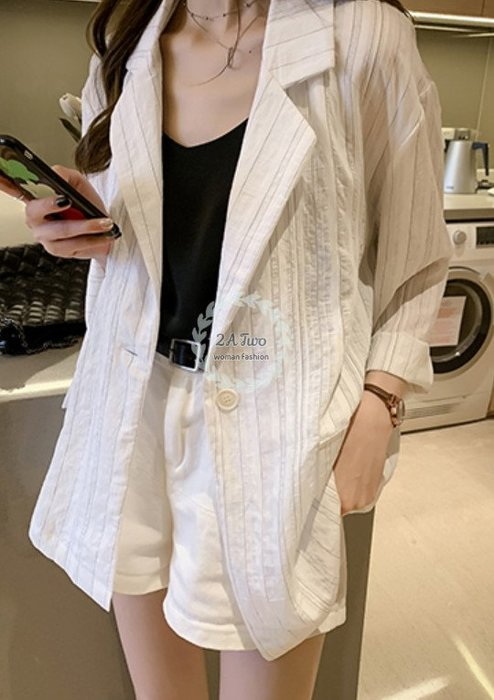 【2A Two】首爾🍈薄西裝外套⌒氣質中長版西裝領外套『BA0653』