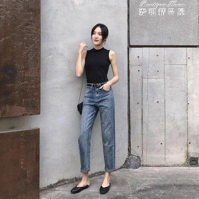 春季新款春裝直筒牛仔褲女寬鬆闊腿高腰九分網紅褲子